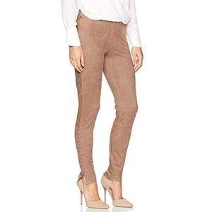 NWT LYSSE faux suede leggings lace up toffee